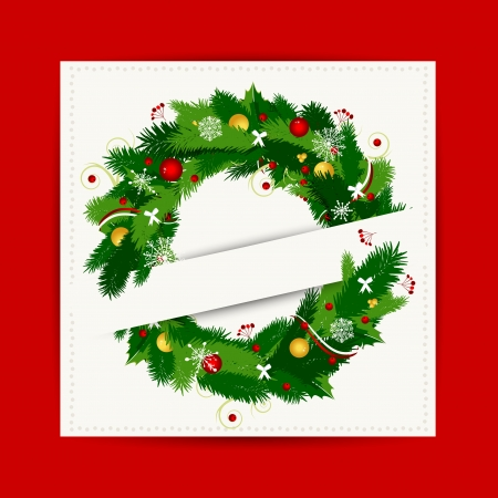 Card with christmas wreath for your design Vector