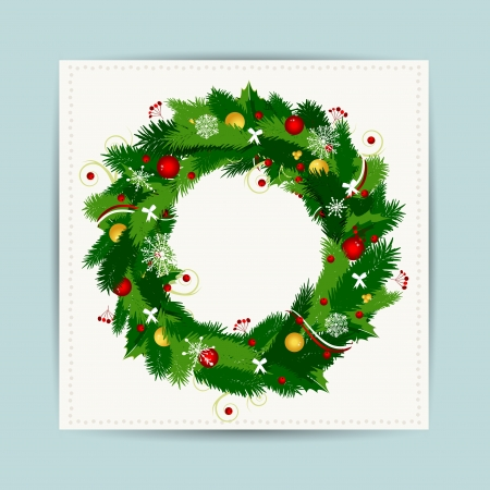 garland border: Card with christmas wreath for your design