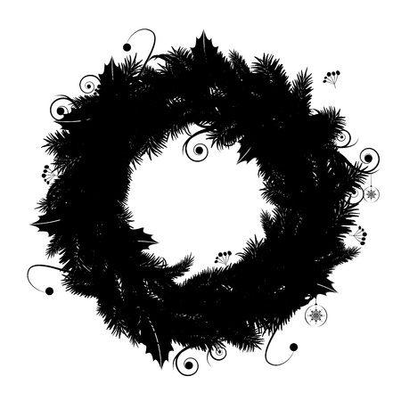 Christmas wreath silhouette for your design Vector