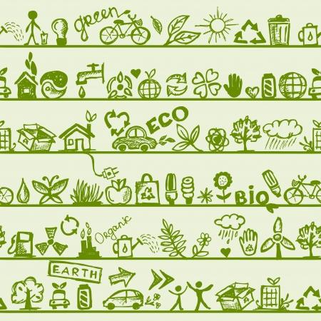 Ecología patrón Seamless concepto para su diseño