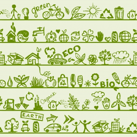 eco house: Ecology concept  Seamless pattern for your design  Illustration