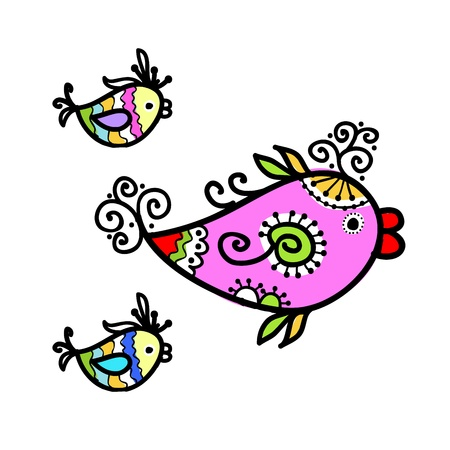 Sketch of funny fishes for your design Stock Vector - 16709464