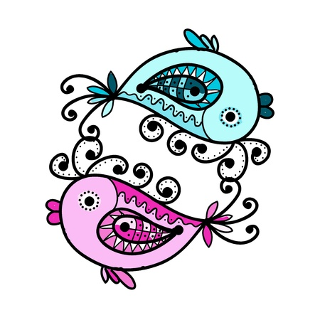 Sketch of funny fishes for your design Stock Vector - 16709470