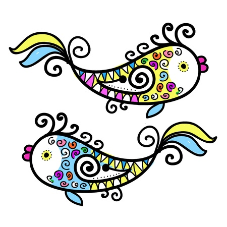 outline drawing of fish: Sketch of funny fishes for your design Illustration
