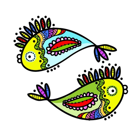 fish tail: Sketch of funny fishes for your design Illustration