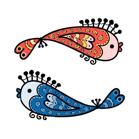 Sketch of funny fishes for your design Stock Vector - 16709559