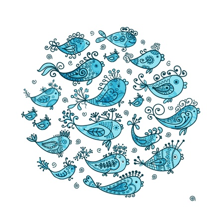 pez abstracto: Sketch de los peces divertidos para su dise�o Vectores