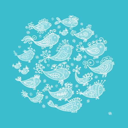 Sketch of funny fishes for your design Stock Vector - 16709695