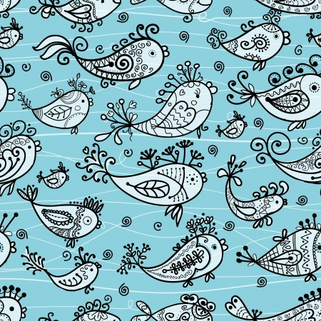 Seamless pattern with funny fishes for your design Vector