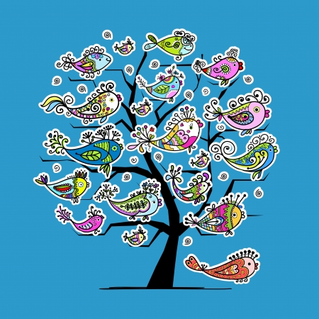 Underwater tree with funny fishes for your design Stock Vector - 16709650