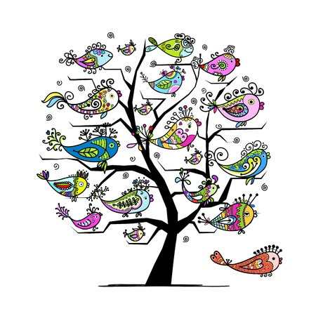 outline drawing of fish: Art tree with funny fishes for your design