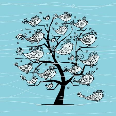 Onderwater boom met grappige vissen voor uw ontwerp