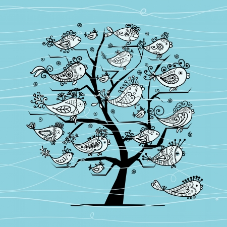 Underwater tree with funny fishes for your design Stock Vector - 16709636