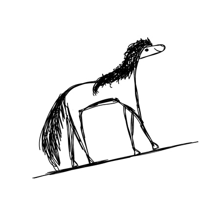 Funny sketch of horse for your design Vector