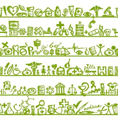 Regale mit medizinischen Symbole. nahtlose Muster für Ihr Design
