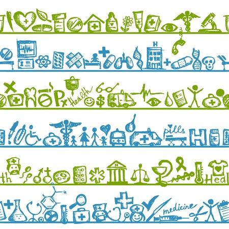 krankenschwester spritze: Regale mit medizinischen Symbole. nahtlose Muster f�r Ihr Design Illustration