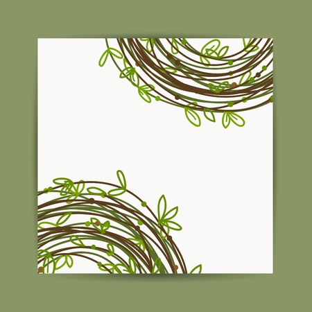 Postcard with green leaf decoration for your design Vector