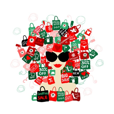 I love sale! Fashion woman portrait with shopping concept for your design  Vector