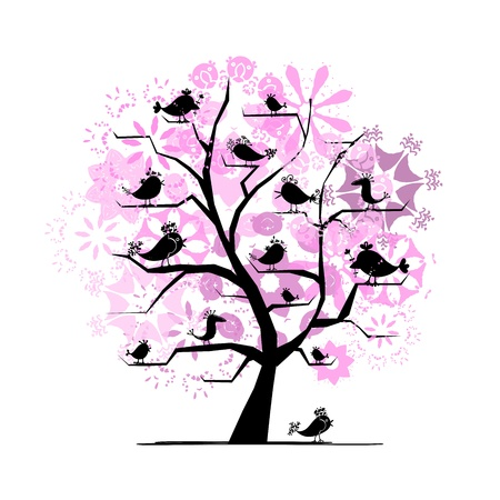 Blooming tree with birds for your design Vector
