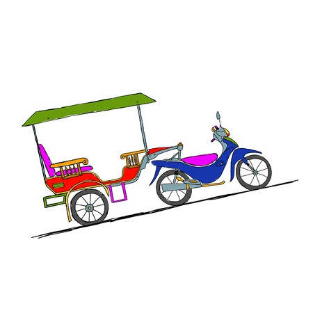 mototaxi: Motorbike trailer, taxi in asian cities