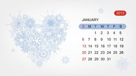 Vector calendar 2013, january  Art heart design Vector