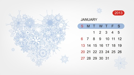 Vector calendar 2013, january  Art heart design Stock Vector - 16798570