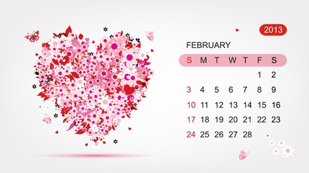 Vector calendar 2013, february  Art heart design Vector