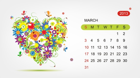 Vector calendar 2013, march  Art heart design Vector