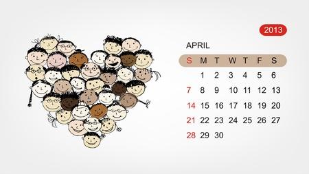 Vector calendar 2013, april  Art heart design Vector