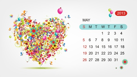Vector calendar 2013, may  Art heart design Vector