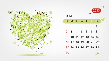 Vector calendar 2013, june  Art heart design Vector