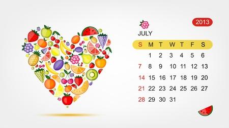 Vector calendar 2013, july  Art heart design Stock Vector - 16798554