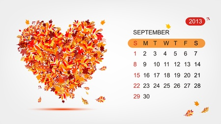september calendar: Vector calendar 2013, september  Art heart design