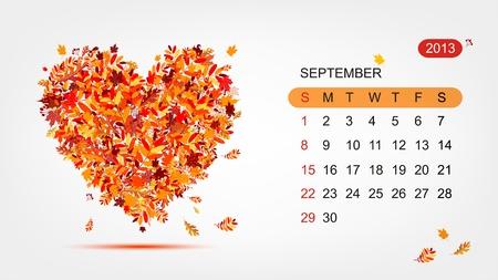 Vector calendar 2013, september  Art heart design Stock Vector - 16798563