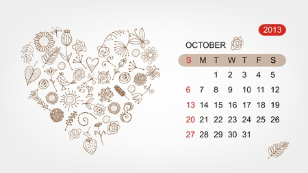 Vector calendar 2013, october  Art heart design Stock Vector - 16798550