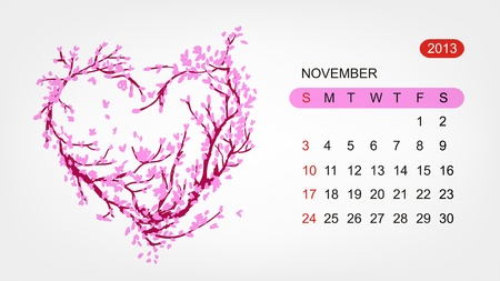 Vector calendar 2013, november  Art heart design Vector