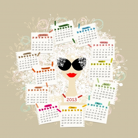 Woman portrait, calendar 2013 concept for your design Stock Vector - 16798569