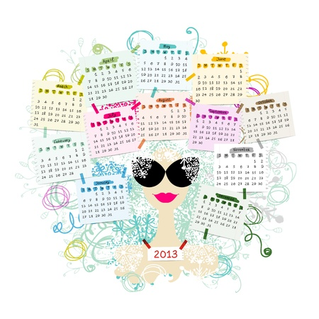 Woman portrait, calendar 2013 concept for your design Vector