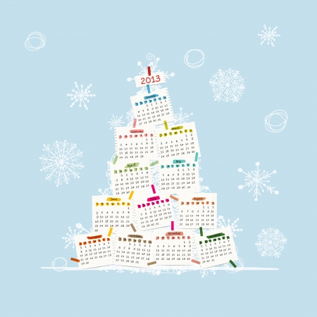 Calendar tree 2013 for your design  Vector