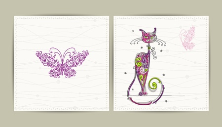 Birthday postcard with cute cat and butterfly for your design  Vector