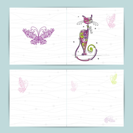 funny birthday: Birthday postcard with cute cat and butterfly for your design