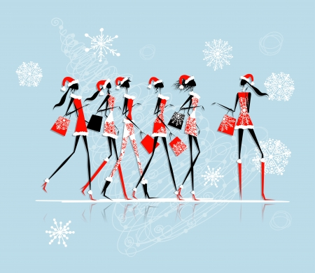 Christmas shopping, santa girls with bags Vector