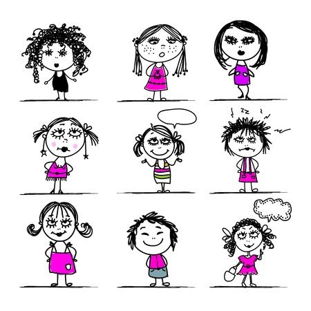 bocetos de personas: Muchachas lindas, bosquejo para su dise�o