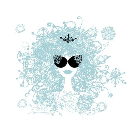 crown silhouette: Acconciatura donna stilizzata con fiocco di neve. Inverno concetto