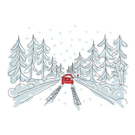 coberto de neve: Carro vermelho na estrada do inverno, esbo
