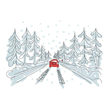 snow track: Red car on winter road, sketch for your design