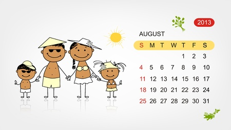 Vector calendar 2013  Family illustration for your design Stock Vector - 19009198