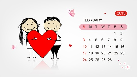 Vector calendar 2013  Valentine day for your design Vector