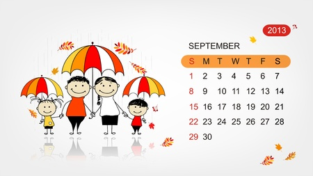 Vector calendar 2013  Family illustration for your design Vector