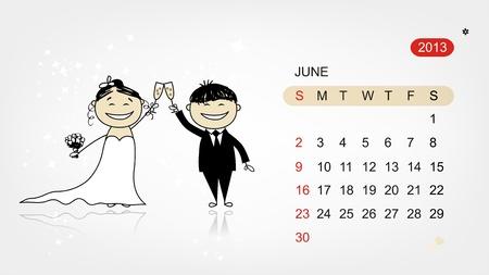 Vector calendar 2013  Wedding party for your design Stock Vector - 19009193